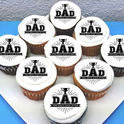 """Sheet of 15 PRE-CUT Fathers Day Dad Edible Icing Cupcake Toppers 2/"""""""