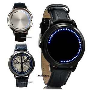 Luces-LED-de-pantalla-tactil-de-cuero-correa-de-aleacion-de-metal-Reloj-De-Pulsera-Unisex-hombres