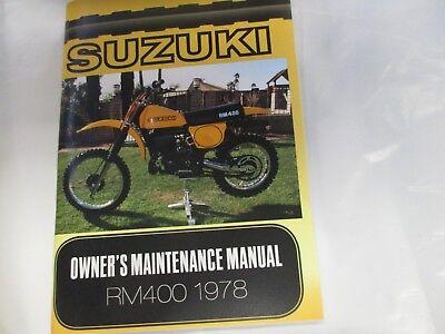 New Suzuki 1978  RM400 owners manual  RM400C