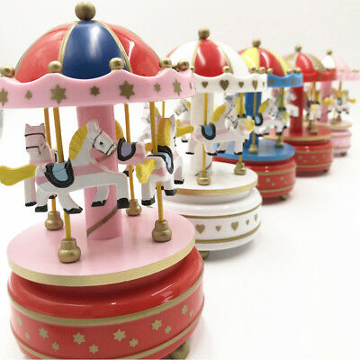Collectibles Music Boxes Dependable 6 Color Wooden Horse Classic Merry-go-round Carousel Music Box Toy Birthday Gift