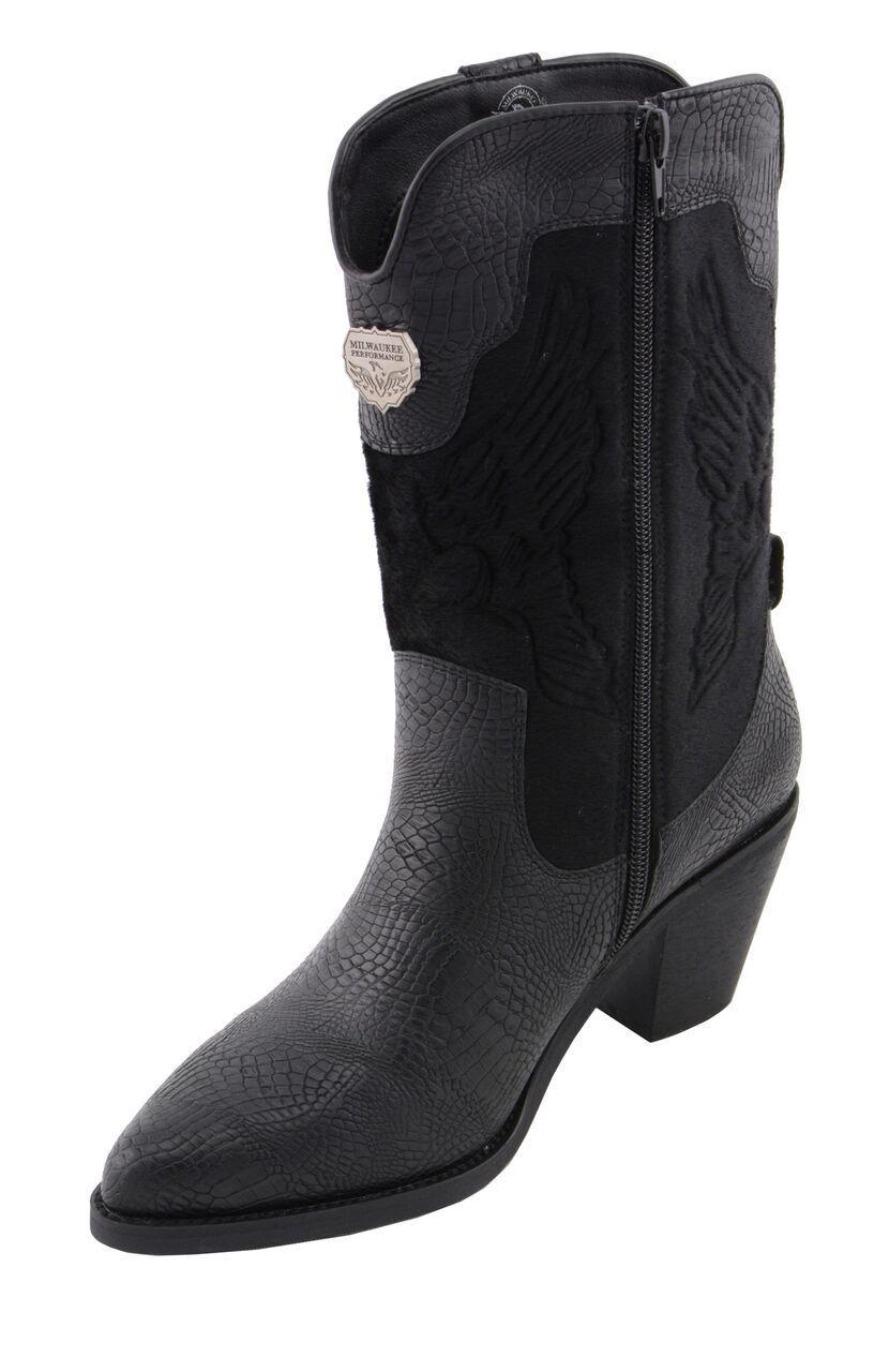 Milwaukee Performance Ladies Western Pull Pull Pull Up Boot W  Black Snake Print MBL9441 92080c