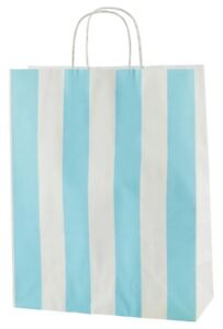 LIGHT BLUE & WHITE STRIPED TWISTED HANDLE KRAFT PAPER CARRIER BAGS