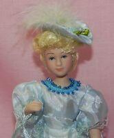 Dollhouse Miniature Doll Mother Victorian Porcelain Blue Dress & Hat 1:12