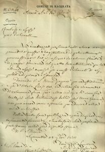Lettera Autografo Gonfaloniere di Macerata Pallotta al Priore di S. Ginesio 1832