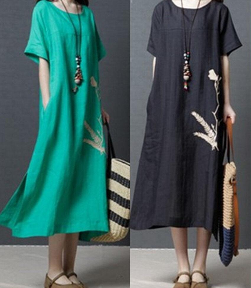 Plus Women Summer Baggy Cotton Linen Casual Loose Long Maxi Dress Boho Kaftan UK 4