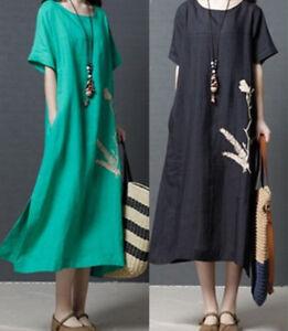 e90670bd187 UK Women summer Casual short sleeves Loose Cotton Linen Maxi Long ...
