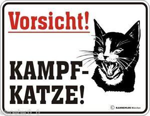 Kampf- Katze Blechschild 17 x 22 Werbeschild Art 3027