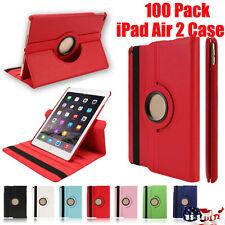 Wholesale lot of 100 iPad Air 2 360 Pu Leather folio case cover stand wake/sleep