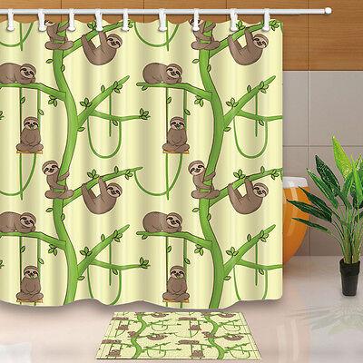 Cartoon penguin Bathroom Shower Curtain Waterproof Fabric w//12 Hooks 71*71inch