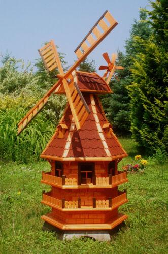 Windmühle Windmühlen kugelgel 1,5m mit Beleuchtung Solar LED Garten