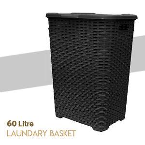 Large-Laundry-Bin-Basket-Washing-Clothes-Toys-Accessory-Storage-Hamper-60L-Black