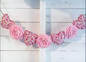 Handmade Tissu Shabby Chic Love Coeur Mariage Nursery Bunting Garland