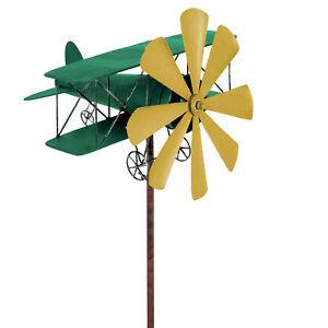 Windspiel-Flugzeug-Metall-Windrad-DOPPELDECKER-Gruen-Gelb-Gartendeko