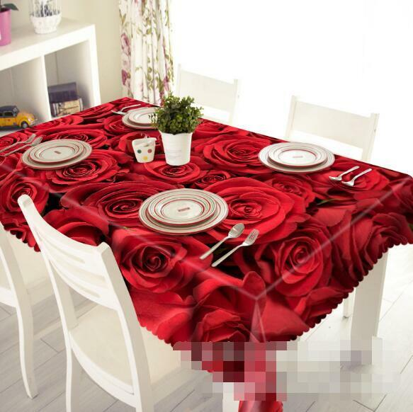 3D rouge Roses 5 Tablecloth Table Cover Cloth Birthday Party Event AJ WALLPAPER AU