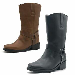 Women Ladies Cowboy Leather Boots Biker