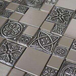 Image Is Loading Stainless Steel Metal Mosaic Tile For Kitchen Backsplash