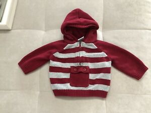 Gymboree-Baby-Boy-Hooded-Sweater-Size-3-6-Month-Red-Gray