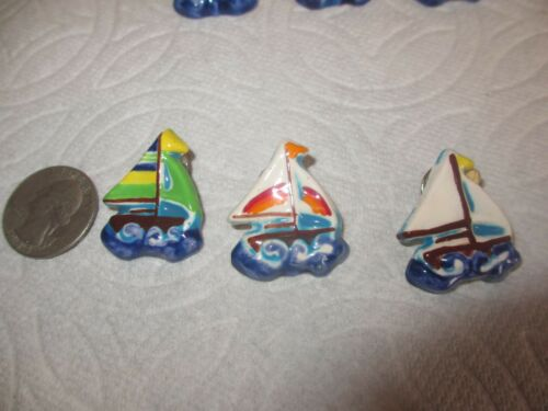 """w Details about  /3 Vintage Ceramic  /"""" SAILBOAT Boats /""""  Pins  BROOCHES ~ FREE SHIPPING"""
