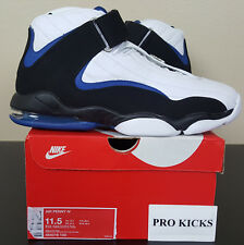 new arrival 3f15d ff0f8 Nike Air Penny 4 IV Mens 864018-100 White Black Blue Basketball Shoes Size  11.5
