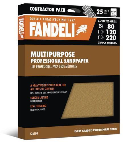 """25 piece Assorted Grit Fandeli 9/"""" x 11/"""" Sandpaper Multipurpose Contractor Pack"""