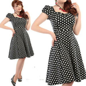 Collectif-Mimi-Negro-Y-Blanco-De-Lunares-Vestido-Vintage-Rockabilly-anos-50-Talla-8-10