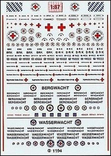 """1194-Decals Baviera cruz roja /""""BRK/"""" 1:87"""