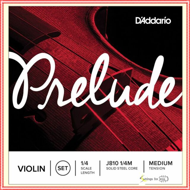 D'Addario Prelude Violin Strings Set 1/4 Scale, Medium Tension Full set