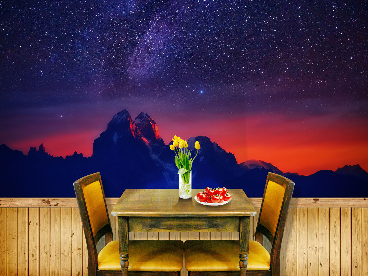 3D Star Mountain 824 Wallpaper Mural Paper Wall Print Wallpaper Murals UK Lemon