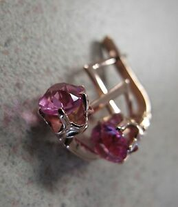 Russian Rose Gold Earrings Pink Tourmaline Soviet stamp 583 vintage