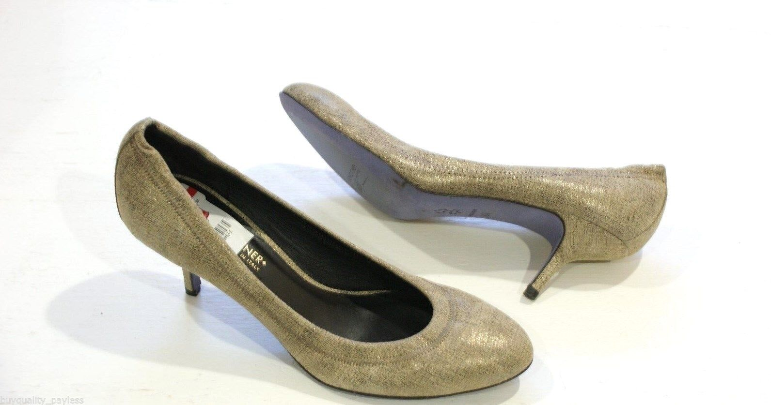 """270 Donald J Pliner YYY Pewter Pump Heel shoes Womens 7.5 """"Made in """""""