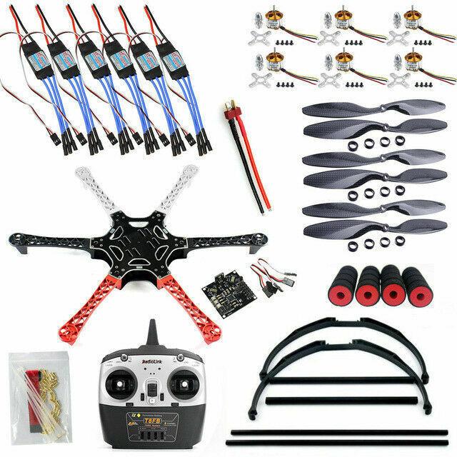 Kit 2.3 KK T8FB Esc hélices RX + Ta F550 FlameWheel con 6CH Drone Radiolink Tx