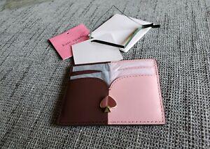 Kate-Spade-CARD-HOLDER-Card-Case-nicola-bicolor-cardholder-NWT-Fig-Pink