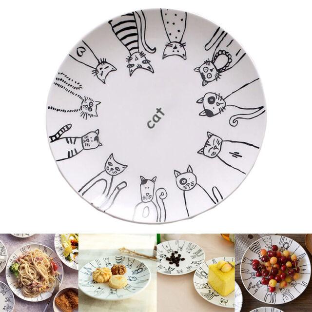 Cat Pattern Ceramic Dish Dinner Dessert Salad Dish Steak Plates for Home Party