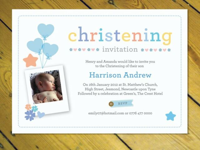 40 Personalised Naming Day Christening Invitations girl boy