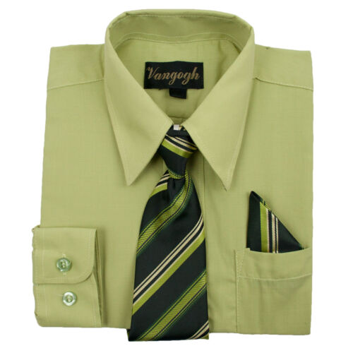 Infant Lilly Green Dress Shirt Matching Tie Hankie Long Sleeves Sizes 12M to 24M