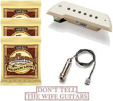 EMG ACS Ivory Acoustic Active Soundhole Pickup ( 3 ERNIE BALL #2003 STRING SETS)