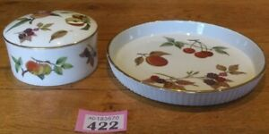 Royal-Worcester-Evesham-Gold-7-Flan-Tart-Dish-And-4-Lidded-Pot
