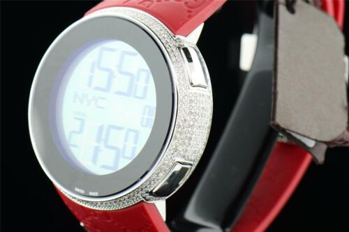 31ff068d3ae 6 of 11 Mens Custom Full Case Digital Red I-Gucci YA114212 Genuine Diamond  Watch 2.50 CT