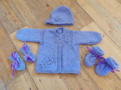 3-6 Booties Mitten Set Hand Knitted 0-3 6-9 Months New Baby Cardigan,Hat