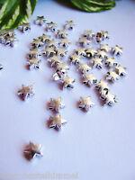 30 Metallperlen, Stern, silber, 6mm, Metall Perle, Schmuck mit Perlen basteln,