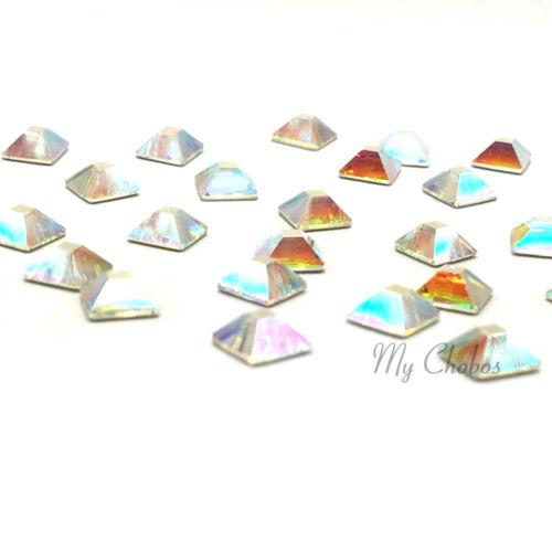24 Piezas de Swarovski 2403 Pirámide Flatback no-revisión 4mm Arte en Uñas Cristal Aurora Boreal 001 Aurora boreal