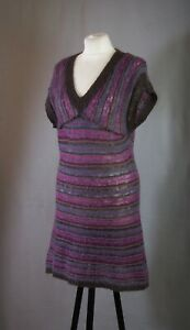 P134/80 Fat Face Mohair/Wool Stripe V Neck Tank Jumper Dress,UK12 Eur40 US8