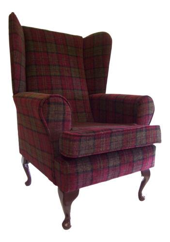 Queen Anne Wing Back Arm  Chair Lana Burgandy Tartan Fabric