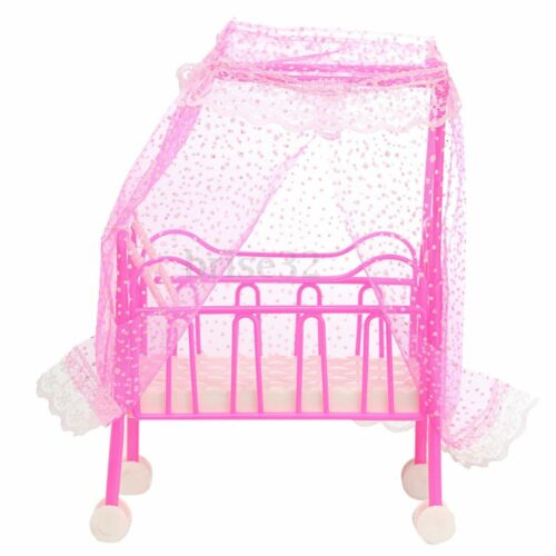 Plastic Baby Bed Miniature Dollhouse Toy Bedroom Furniture For Dolls ❤ l