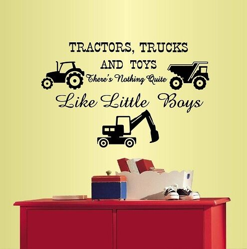Vinyl decal tractors trucks and toys quote kids boys nursery play room decor580 ebay