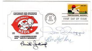 Baseball #1381 FDC 1969 Autograph Dom DiMaggio, Ron Leflore, Benito Santiago