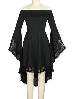 Dark Lady Kleid Gothic Tunika schwarz Spitze Off-Shoulder