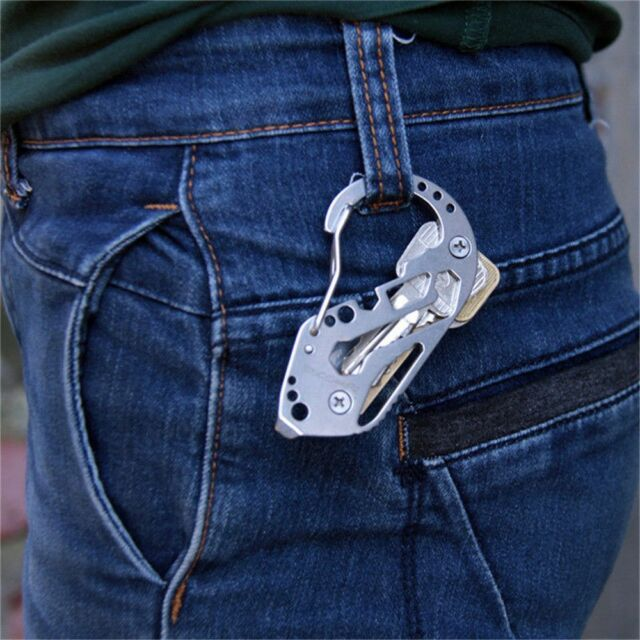 High Quality Stainless Key Holder Organizer Folder Keychain Pocket Multi Tools~