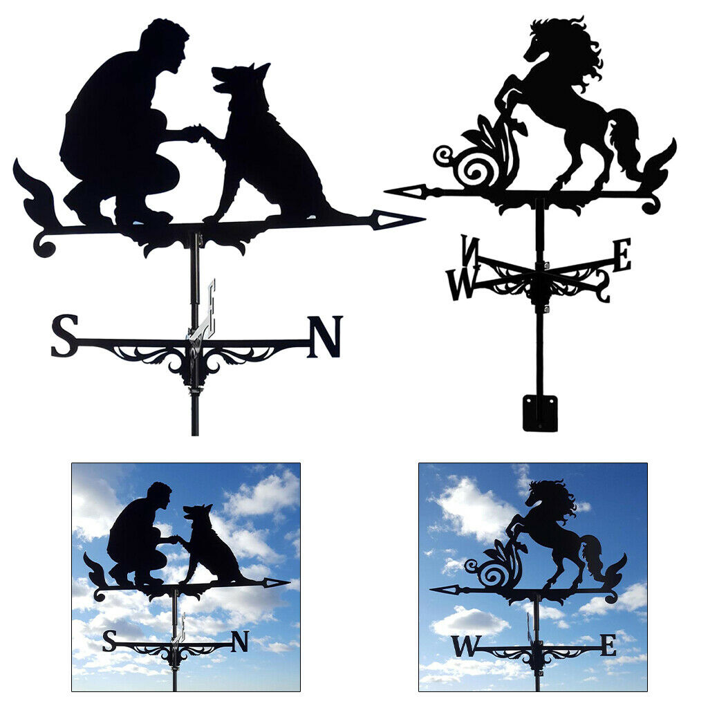 Wind Vane Man and Dog Horse Black Stainless Steel Weathervane Outdoor