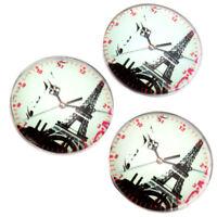 20x Tower And Clocks Pattern Round Glass Embellishments Flatbacks Scrapbooking D